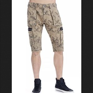 True Religion Camo Touring Moto Shorts Brown